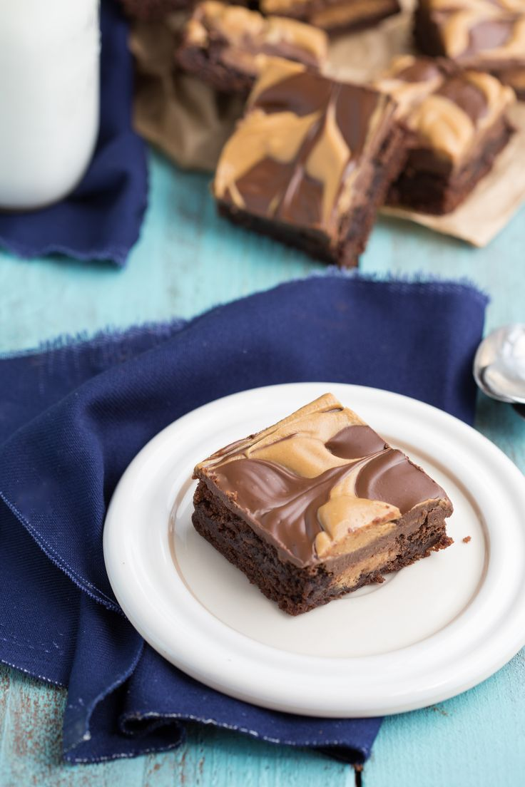 Double-Layered Peanut Butter Cup Brownies I via chelseamessyapron.com I #dessert #brownie #peanutbutter