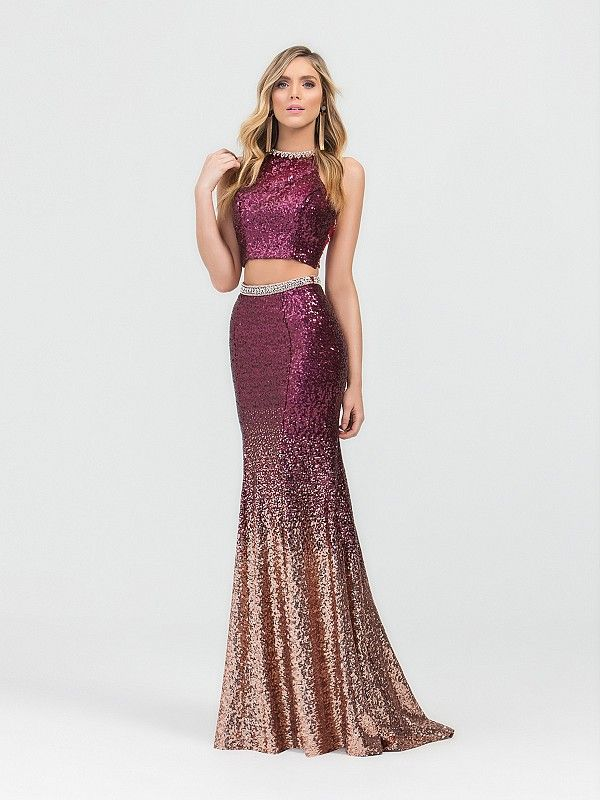 Val Stefani 3490RK is a stunning two piece ombre sequin mermaid prom dress  with a jeweled top and belt. The rich wine ombre color blends into a rose  gold ... 9734923f8