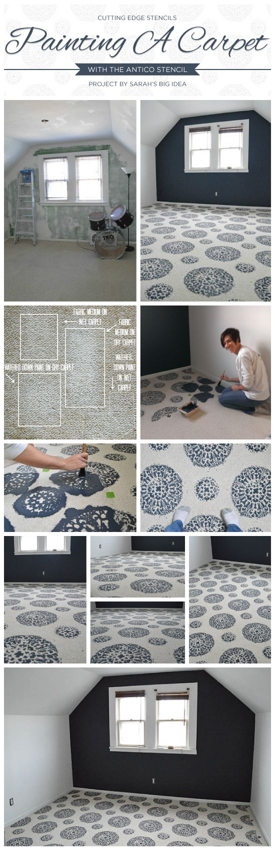 Cutting Edge Stencils shares a DIY painted carpet using the Antico Allover stencil pattern. http://www.cuttingedgestencils.com/antico-allover-wall-pattern.html #stenciling #painting #carpet