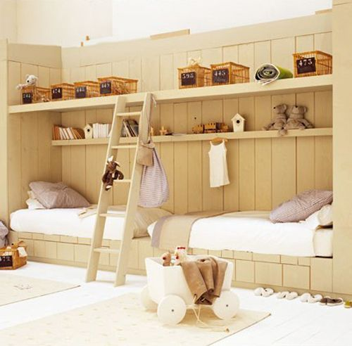 French style for little folks /// this is the way to do a kids room... i would even love it with no shelves or ladder.