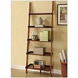 Mahogany Five-tier Leaning Ladder Shelf
