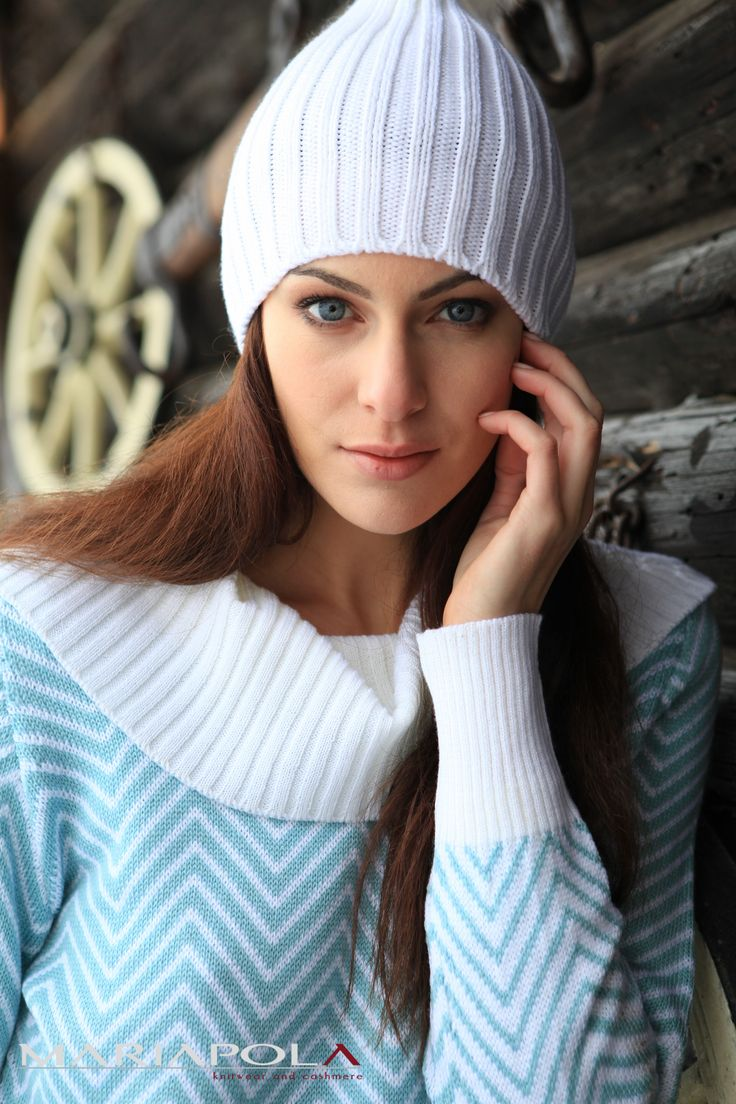 """""""Heavenly Sky"""" Mariapola Knitwear in Merinos Wool and Cashmere. Italian Manifacture and Fashion. Fall Winter 2014-2015.#winter#girl#classy#natural#blueeyes #white"""
