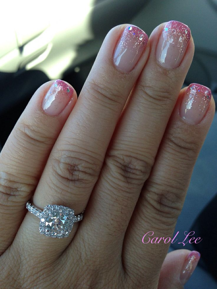 Gradient French Manicure: Gel Glitter Gradient Nails