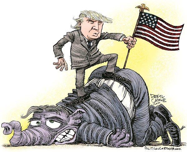 Trump Conquers the GOP, Daryl Cagle,CagleCartoons.com,Donald Trump,flag,presidential campaign 2016,president,elephant,republican,GOP,asshole,ass,butt,donald trump 2016