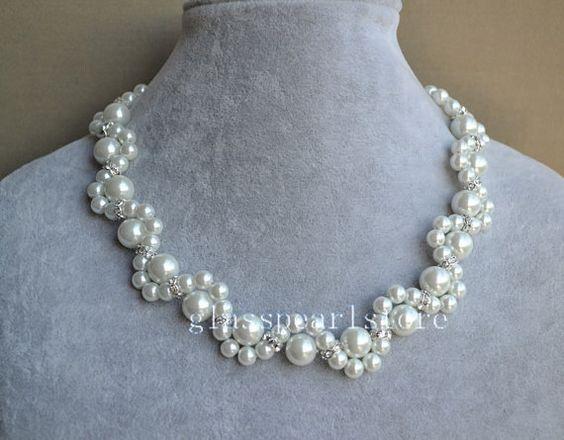 blanco perla de collar, collar de perlas de cristal, collar, collar de la boda, de Dama de honor, joyería, collar nupcial de la mujer de la flor