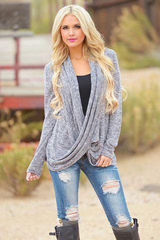 Cross Over Sweater - Knit - Black