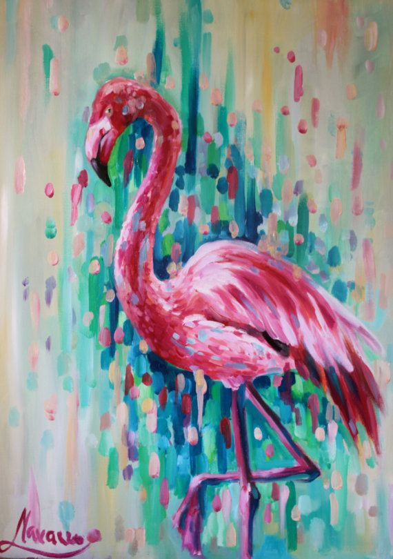 Flamingo art abstract art bird painting Florida by LenaNavarroArt