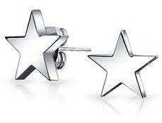 Bling Jewelry Unisex Star Stud Earrings Stainless Steel 10mm.