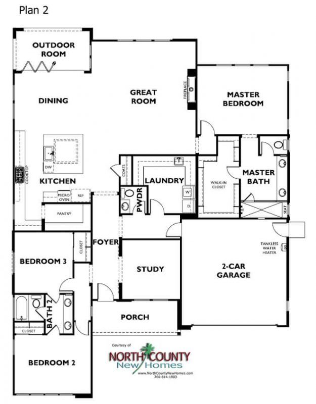 Alcove New Homes In Encinitas North County New Homes One Level House Plans Single Level House Plans Floor Plans