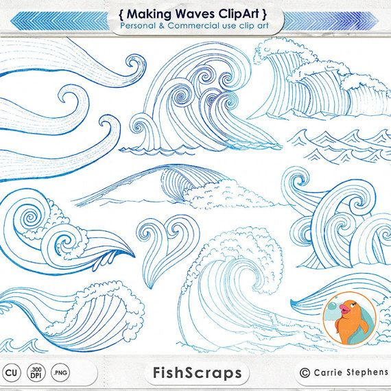 SALE White Water Wave ClipArt Ocean Surfu0027s Up Clip By FishScraps
