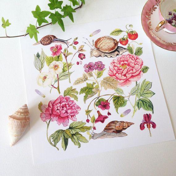 Botanicals and Snails 11x11 in. Giclée Print by strawberrysnail