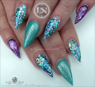 Luminous Nails: Atlantic Mermaid Nails... Acrylic Nails.