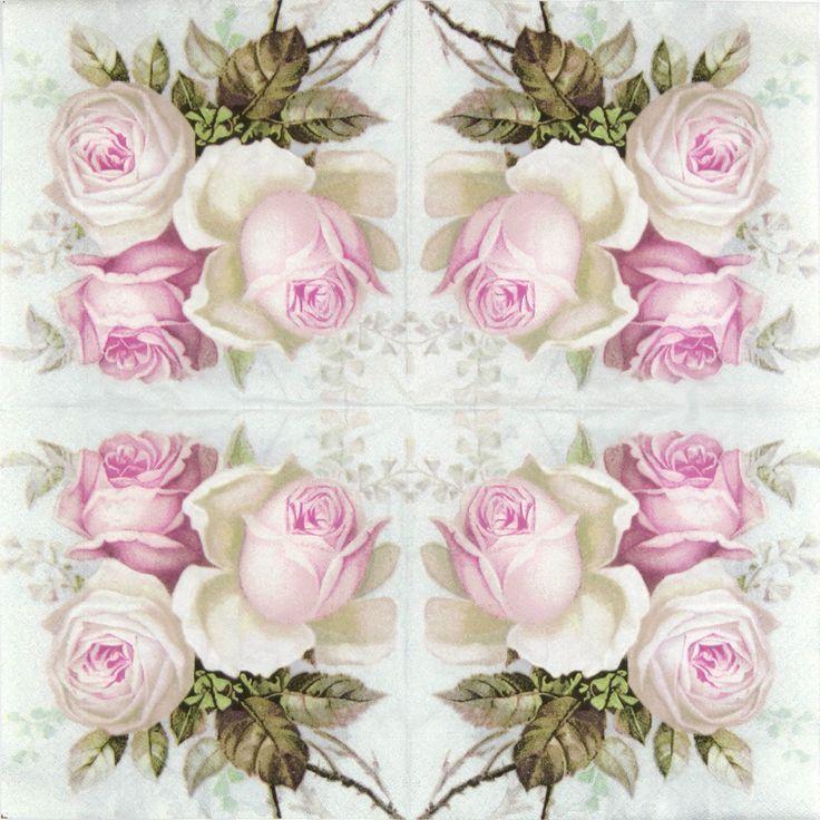 4 Single Table Party Paper Napkins for Decoupage Decopatch Vintage Wild Rose Mix   eBay