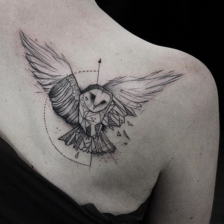Geometric owl tattoo - photo#17