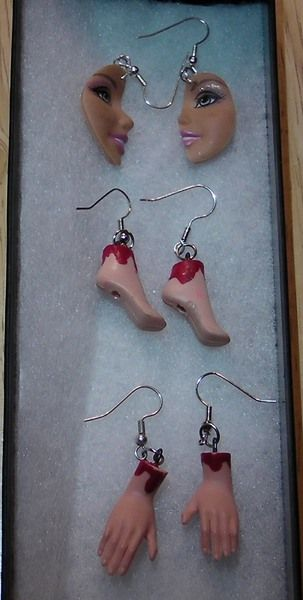 Be My Bloody Valentine! Barbie Feet and Barbie Hands earrings!Dexter Ice Truck killer?