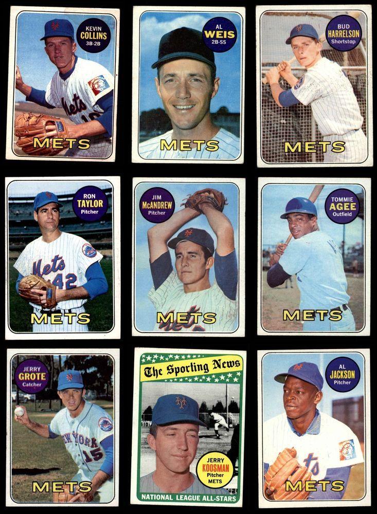 1969 topps new york mets near team set vg g9483 mets