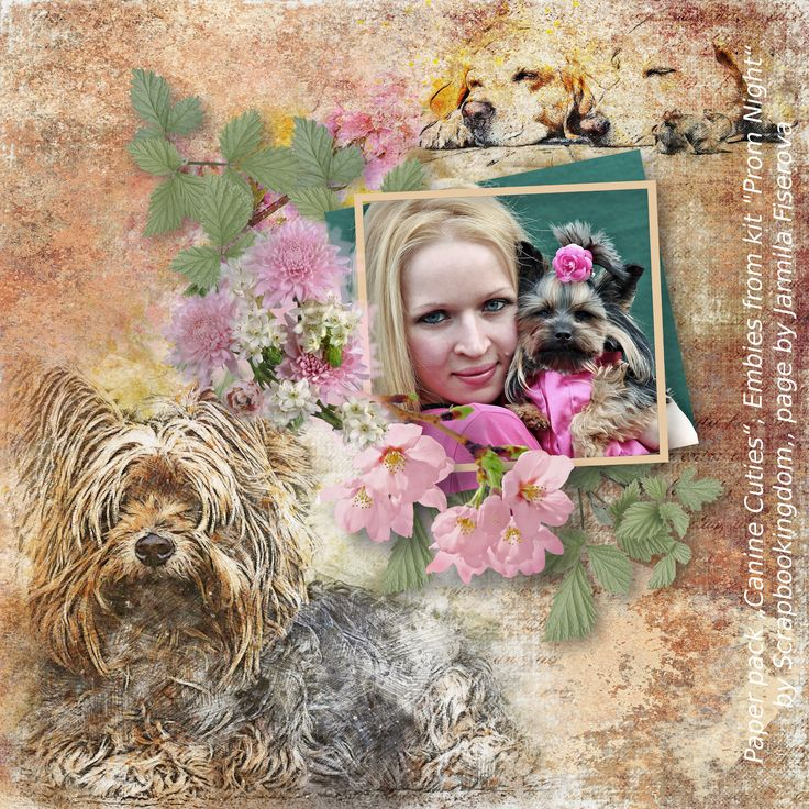 """paper pack """"Canine Cuties"""" by Scrapbookingdom, https://www.etsy.com/listing/557683377/scrapbooking-digital-papers-dog-theme?ref=shop_home_active_1, embies from kit """"Prom Night, photo YamaBSM, Pixabay"""