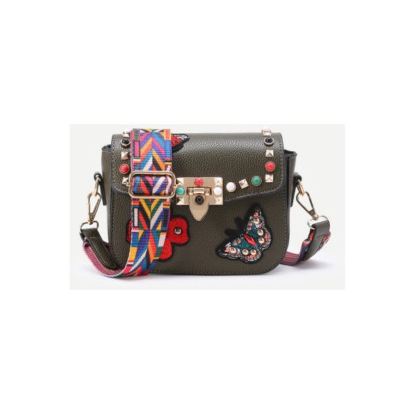Studded And Butterfly Embroidery Shoulder Bag (120 ILS) ❤ liked on Polyvore featuring bags, handbags, shoulder bags, green, brown studded handbag, butterfly purse, embroidered purse, butterfly handbag and studded purse