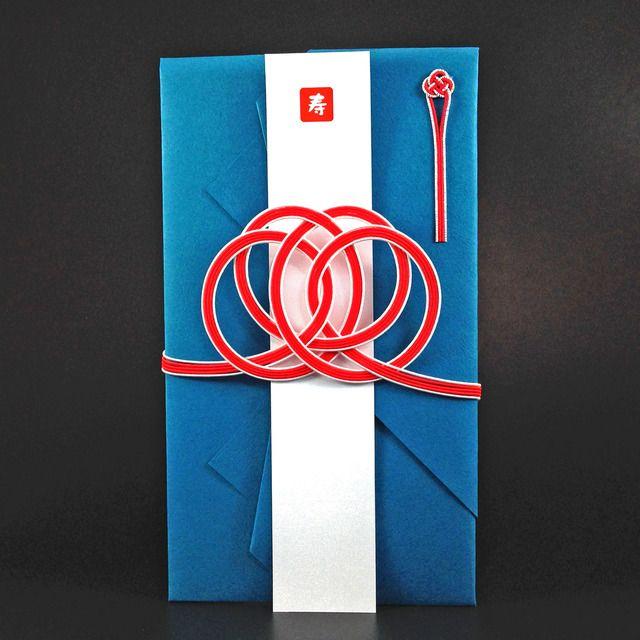 ハンドメイドマーケット minne(ミンネ)| 紺碧に赤の思い結びのご祝儀袋