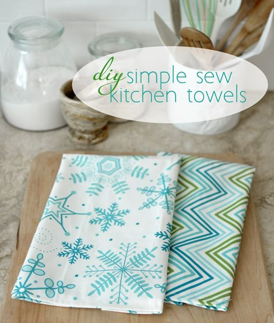 diy simple sew kitchen towels or napkins (centsational girl)