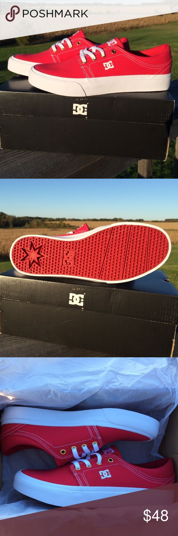 DC Skate Shoes *BRAND NEW* Size 8 men's red DC skate shoes. *NEVER WORN STILL IN BOX* Price is firm. DC Shoes Sneakers