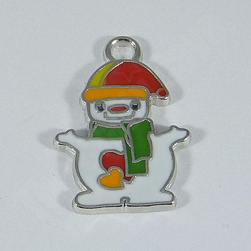 Enamel Christmas Snowman Charm (25x18mm)