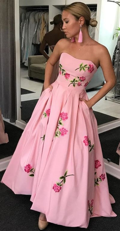 06b9db21127 all Gown Sweetheart Pink Satin Prom Dress with Appliques Pockets ...