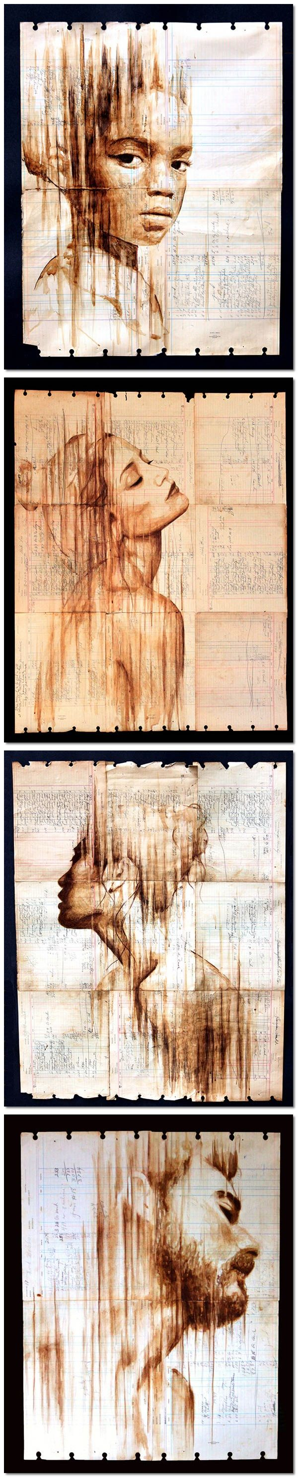 Food Art_Portraits Painted With Coffee on Antique Ledger Paper
