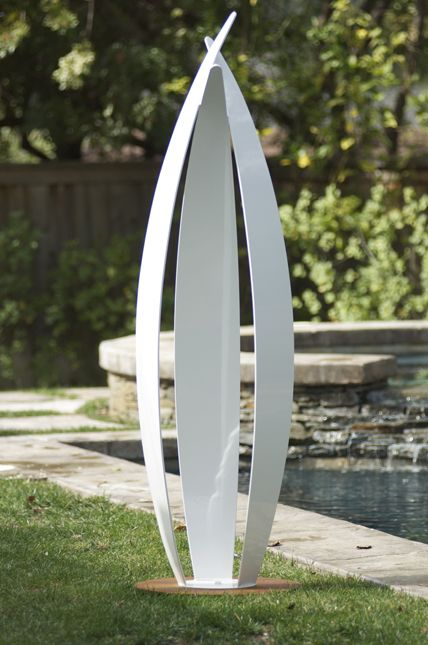 Flight is a limited edition modern garden sculpture by Jennifer Gilbert Asher & Mario Lopez. | The medium is a powdercoated steel sculpture with a weathered steel base. Flight was featured in Annie's Garden, a hospital #healinggarden.