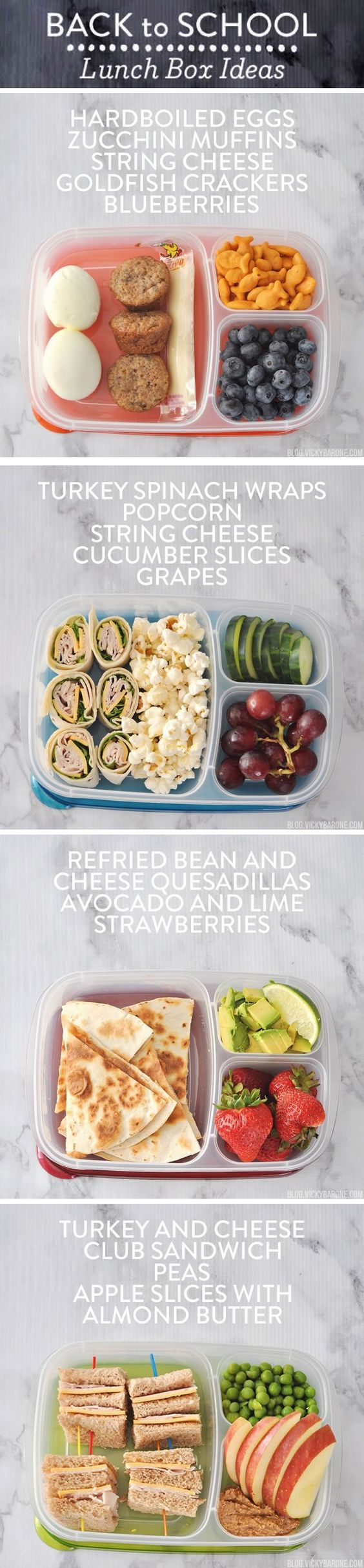Yummy packed lunch ideas for when you're stumped on what to send your kiddo to school with. Packed in @easylunchboxes, these lunch combinations have fruits, veggies, and protein to give your little ones the nutrition and energy to tackle the day without sacrificing taste.:
