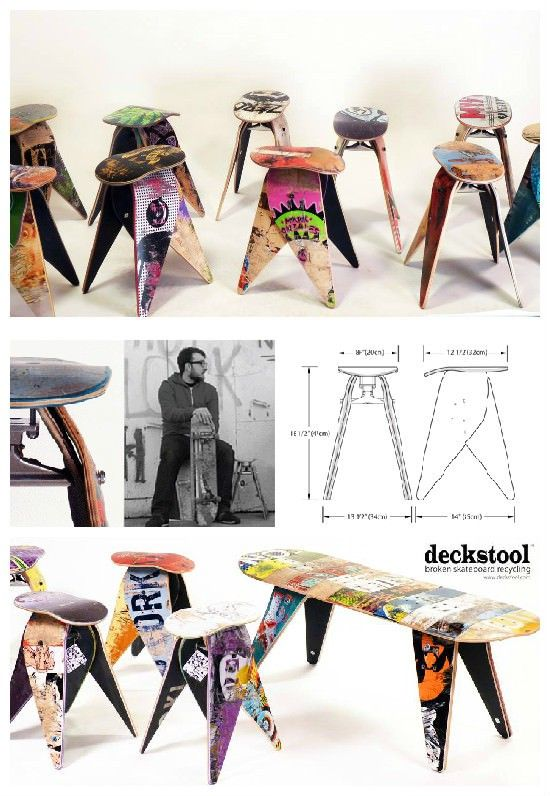 Stools made from old broken skateboards ! I want one ! ;) From Deckstool: Broken skateboards are an unfortunate side effect …
