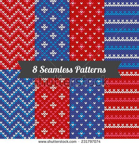 Set of holiday knitting patterns in Red, Blue and White. Chevron, stripes, diagonal lines. Perfect for wallpapers, pattern fills, web page backgrounds, wrapping holiday paper, textile.