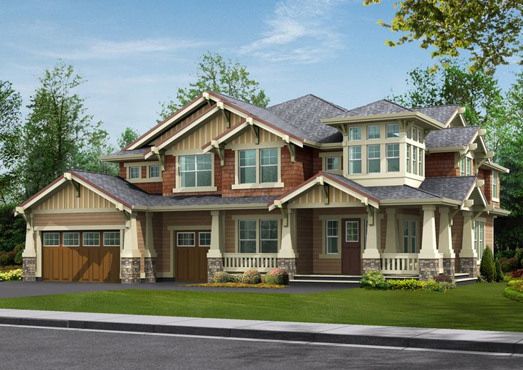 Rustic wood craftsman style home design craftsman for Craftsman style home plans designs