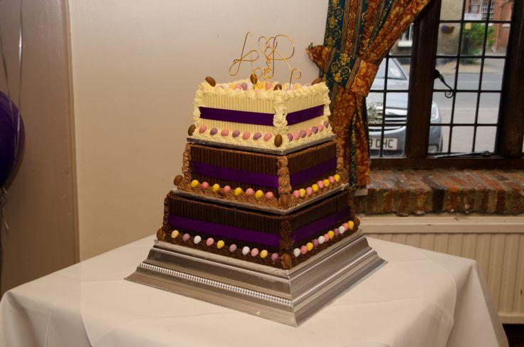Square chocolate three tier wedding cake