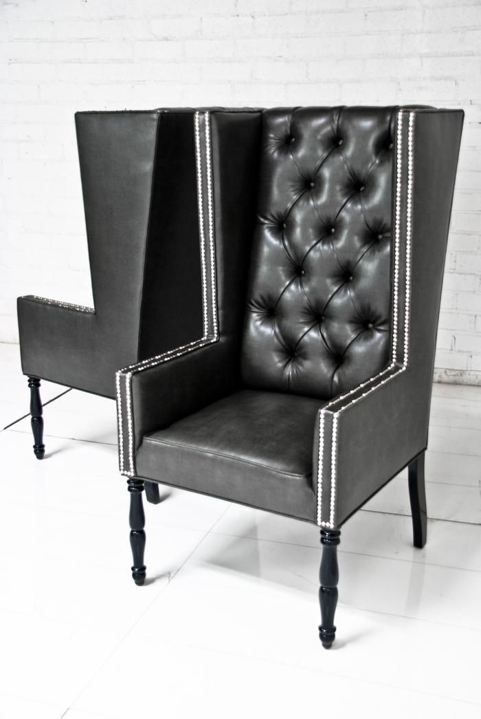 Ultra tall mod wing dining chair in faux black leather for Wing back dining chairs