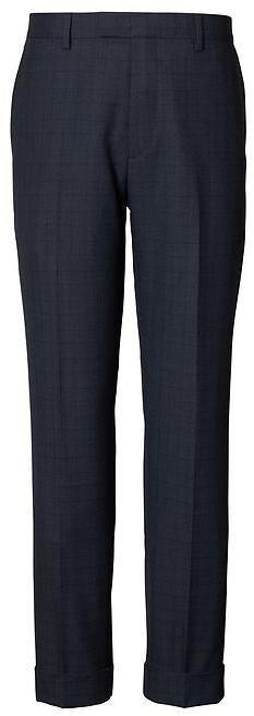 Banana Republic Slim Navy Plaid Italian Wool-Cotton Suit Trouser