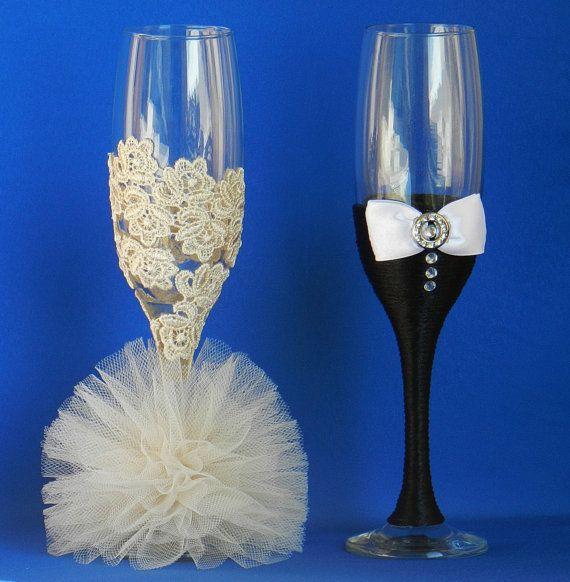 Copas de boda hecho a mano. por AccessoriesbyNicolle en Etsy