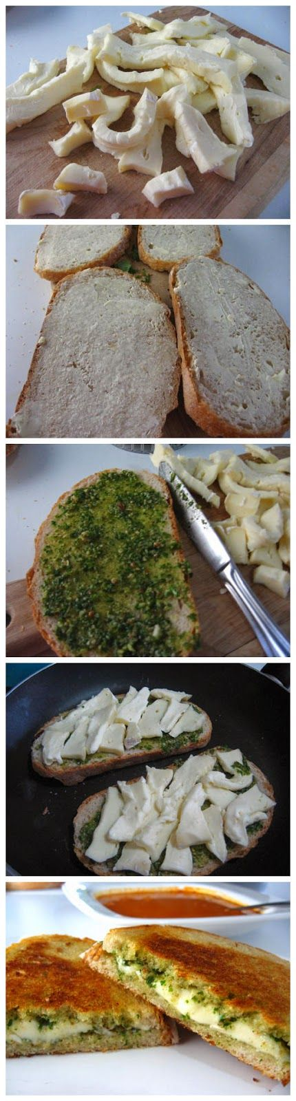 There is nothing better with a hot bowl of soup than a grilled cheese sandwich...this one with pesto looks really good!    Ingredients  Pest...