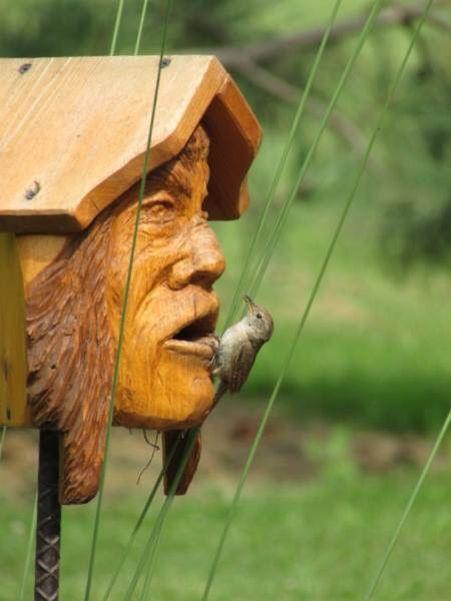 Carved birdhouse