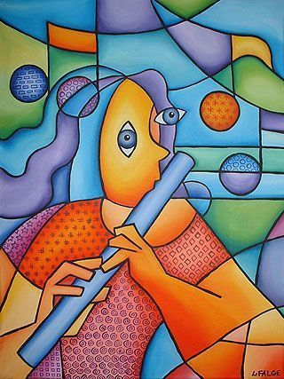 Bright Paintings | ... Flute Player - by Lindi Levison from Contemporary Cubism Art Gallery