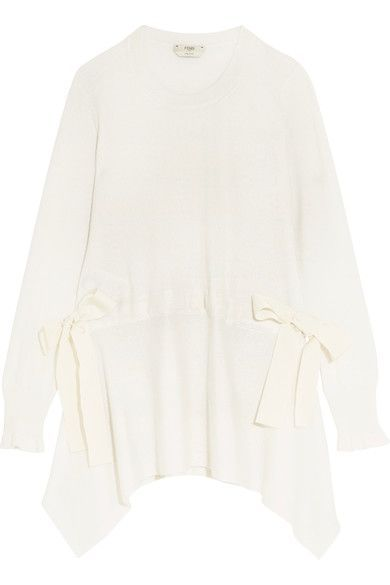 Fendi - Bow-detailed Cashmere Sweater - White - IT44