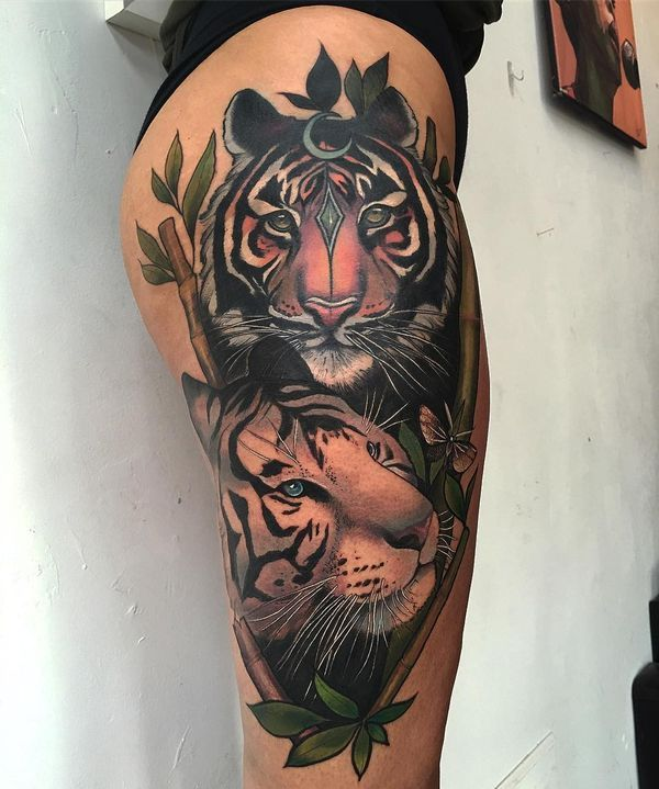 Neo Traditional Tiger Couple Tattoo For Female On Thigh Tiger Tattoo Thigh Tattoos Women Tattoos For Women