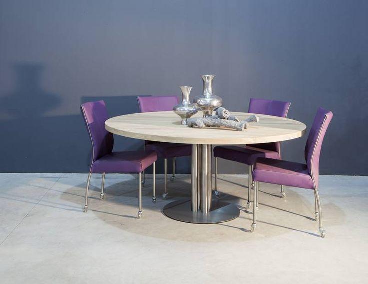 Ronde tafel RVS poot | Te Boveldt Meubelmakerij & Interieurbouw