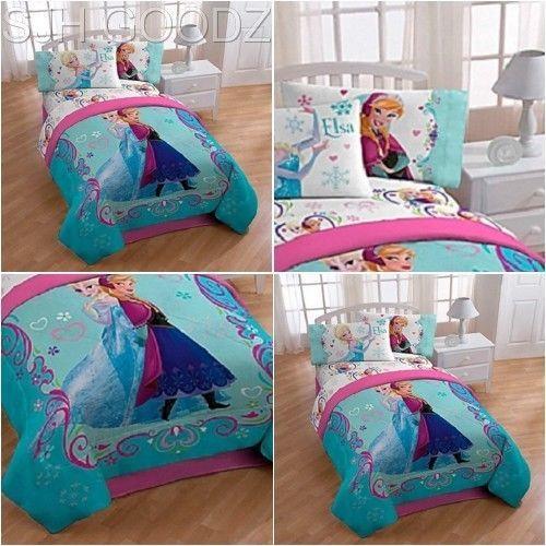 Frozen Comforter Twin Disney Full Floral Girl Teen Bed Bedroom Princess Plush #Disney