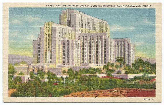 Los Angeles County General Hospital, California Linen Era Old Postcard - Unposted