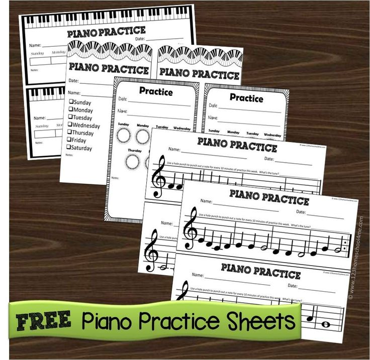 Piano practice chart and other sheets                              …