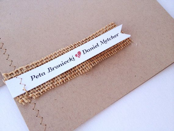 Rustic Sewn Wedding Invitations  Burlap brown red by pghpapercraft, $4.25