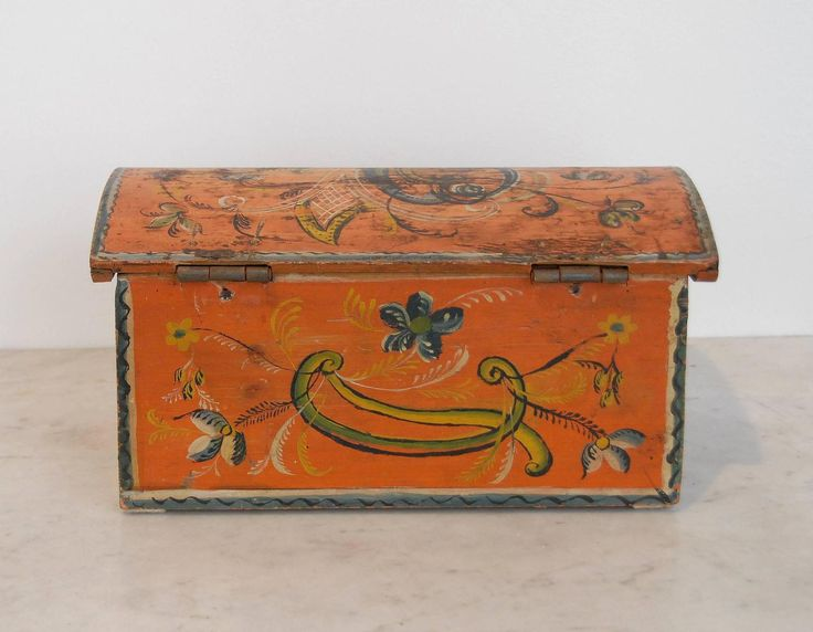 19th Century Small Rose Painted Casket | From a unique collection of antique and modern painted furniture at https://www.1stdibs.com/furniture/folk-art/painted-furniture/