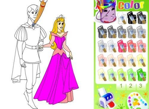 Juegos de colorear princesas.