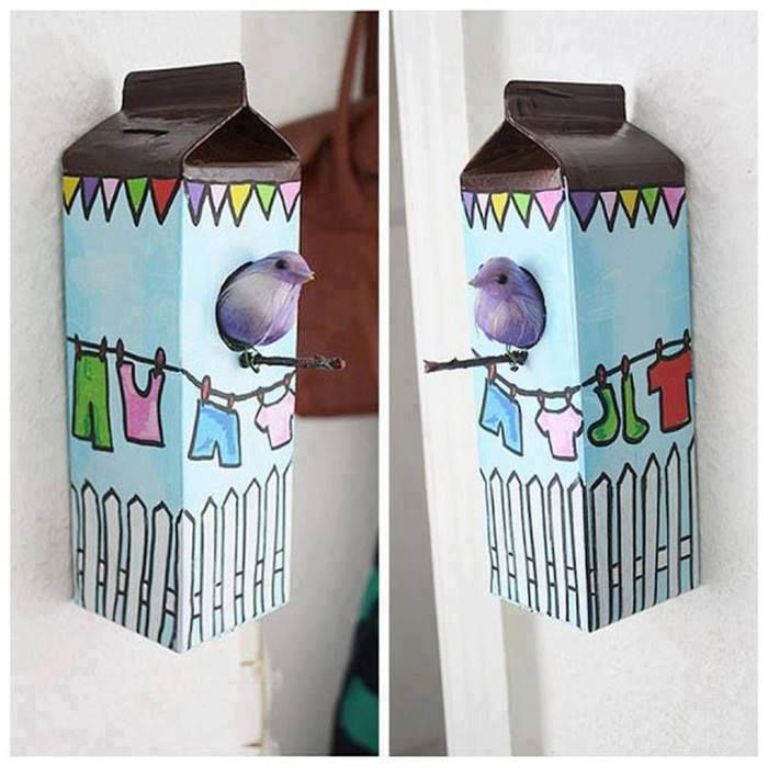 Bird shelters in recycled juice or milk boxes